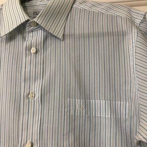 Dior Shirts - Christian Dior designer white blue striped shirt M